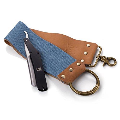 A.P. Donovan - Rasiermesser mit 7/8 Zoll Karbon-Klinge mit Hohlschliff (nicht rostfrei) für Herren (auch als Set mit Streich-Abzieh-Leder-Riemen erhältlich) - Schwarz mit Streichriemen