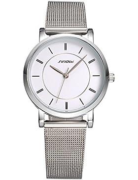 XLORDX Classic Damen Quarz Armbanduhr elegant Uhr modisch Zeitloses Design klassisch silber Metall Weiß