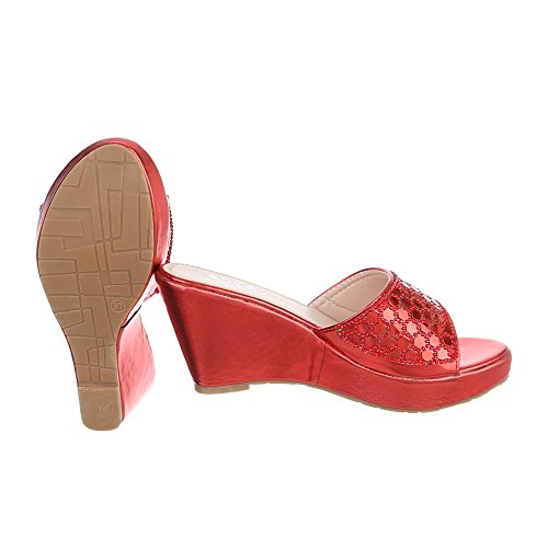 Pantoletten Damenschuhe Jazz & Modern Keilabsatz/ Wedge Keilabsatz Ital-Design Sandalen / Sandaletten Rot XF94-J