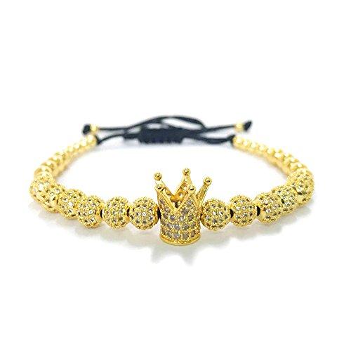 (MESE London König Krone Perlen Armband 18 Karat Vergoldet 'The Emperor' in Luxus Geschenkbox)