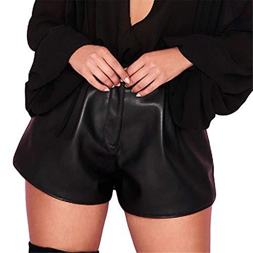 SHANFENGSHIYEJPSD Shorts Lackleder sexy Mode einfarbig lässige Shorts schwarz M Monogram Cocktail