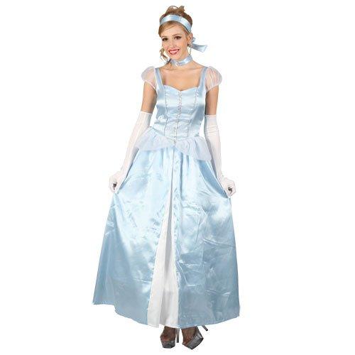 LADIES CINDERELLA COSTUME SWEET CINDERS PRINCESS LONG BLUE