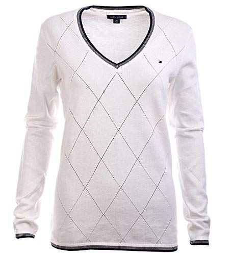 Tommy Hilfiger Damen Pulli, Women's Diamond Knit Sweater, Pullover, White, S -