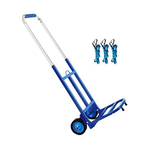 Falten Hand LKW, 150 Kg Schwer Pflicht 2-Rad Solide Konstruktion Nützlichkeit Wagen Kompakt und Leicht zum Gepäck, persönlich, Reise, Auto, Ziehen um und Büro Benutzen - tragbar-Blau