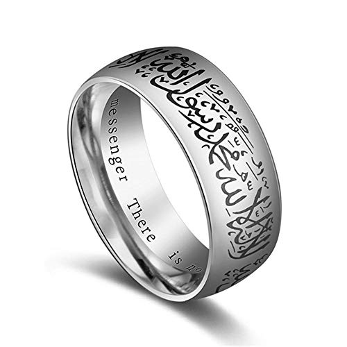 LING ringfashion Titanium Stahl Koran Messenger Ring Muslim religiöse Halal rede Mann Frau Vintage französisch 11 14698