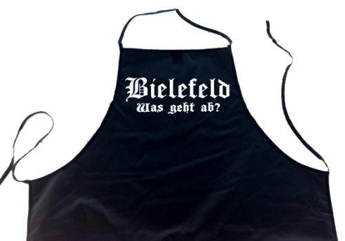 ShirtShop-Saar Bielefeld - was geht ab?; Schürze (Latzschürze - Grillen, Kochen, Berufsbekleidung, Kochschürze), schwarz