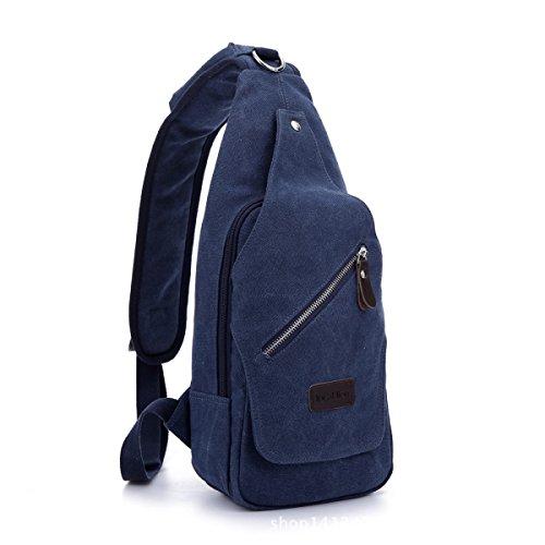 BULAGE Tasche Brusttasche Retro Einfach Stilvoll Ausgehen Dicke Leinwand Outdoor Freizeit Messenger Große Kapazität Männer Und Frauen Blue