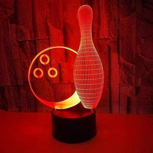 3D Optical Illusion Lampe LED Nachtlicht, 7 Farben Touch/Fernbedienung Lampe Nachttischlampe Schlafzimmer Tisch Art Deco Kind Nachtlicht mit USB Kabel, Bowling Bowling-art-deco