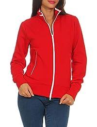 e6d04621c71a Happy Clothing Damen Sweatjacke mit Reißverschluss und Kragen ohne Kapuze  im sportlichen Design, Elegante Jacke