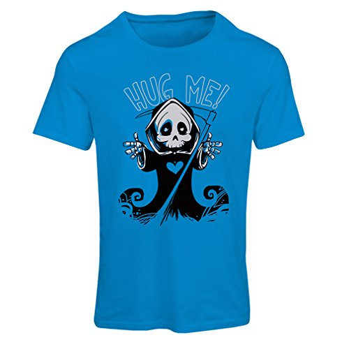 Frauen T-Shirt Der Tod kommt! Halloween Skelett Kleidung, böse Schädel Sichel (Medium Blau Mehrfarben) (Halloween Simpson Los 13)