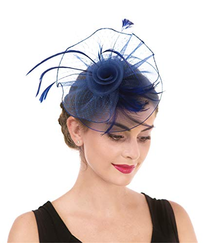 Lucky Leaf Women Girl Fascinators Hair Clip Hairpin Hat Feather Cocktail Wedding Tea Party Hat (2-Königsblau) (Party-girl Hats)