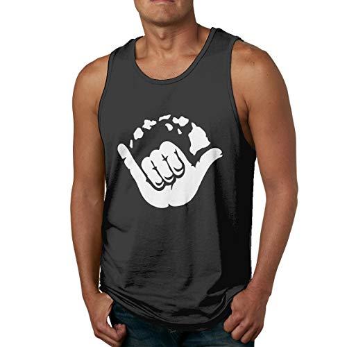 Aloha Hand Hawaii Symbol Herren Tank top ärmellose Shirts t Basketball Sport t Shirt tees Outdoor Fitness(XXL,schwarz) -