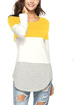 Lylafairy Strisce Donna Cotone Casual Maglietta Primavera Autunno Camicia Maglia Maniche Lunghe T Shirt