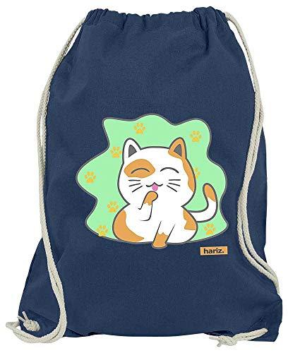Dschungel Kostüm Katzen - HARIZ Turnbeutel Katze Zufrieden Tiere Zoo Plus Geschenkkarte Navy Blau One Size