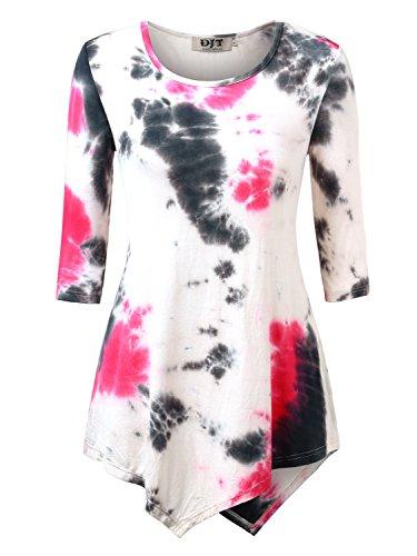 DJT Damen 3/4 Aermel Tshirt Asymmetrisch Hem Stretch Tunika Tops Tie Dye  Rosa