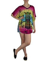 S&LU Tolle Sommerliches Damen Tunika Bluse Hippie in Vielen Tollen Designs Größe: One Size M - 4XL