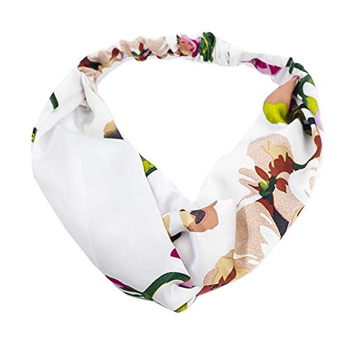 Frauen Mädchen Sommer Bohemian Stirnband Floral Boho Haarbänder Turban Haarschmuck Headwrap (Color : White, Size : One Size)