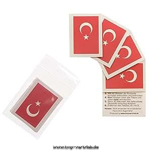 5er Türkei Tattoo Fahne Fan Set – EM Fanartikel 2016 – Türkei Flag (5)