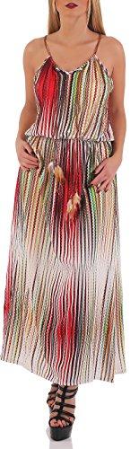 malito Maxikleid im Streifen Look Sommerkleid 037-40 Damen One Size Rot