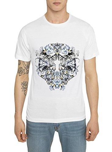 Herren Designer Shirts, T Shirt in Weiß mit Design Graffiti Aufdruck Riddle Top Qualität 100% Baumwolle, Jersey, Rundhals, Kurzarm, Urban Casual Mode IM Fashion Rock Style, Coole Tops für Männer (Race Team-grafik)