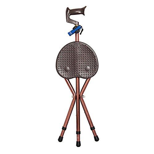 Preisvergleich Produktbild WYMNAME Folding stock sitz, Multifunktion Drei füße Alten menschen Rohrstock Rohrstock hocker Wandern stuhl mit licht-B