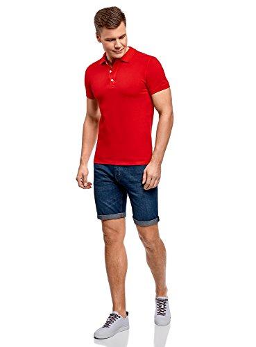 oodji Ultra Herren Pique-Poloshirt Rot (4500N)