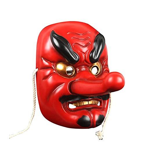 YKQ WS Halloween Maske Scary Lange Nase große Tengu Red Resin ()