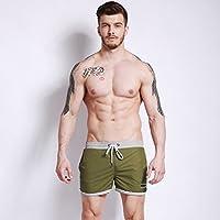 YT La comodidad de los hombres con los bañadores de playa planos alineados,Ejercito verde,XXXL