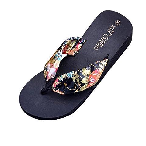 Slippers Kolylong® Frau High Heel Flip Flops Frau Keil Plattform Tangas Hausschuhe (36, Schwarz) (Black Satin High Heel Pumps)