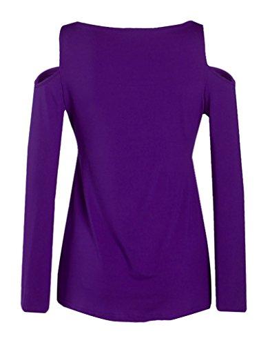 Smile YKK Femme Veste Tops Chemise Sans Bretelles Manches Longue Slim Mode Uni Violet