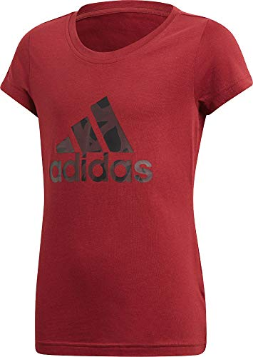 adidas Mädchen Logo Ärmelloses T-Shirt, Noble Maroon/Real Magenta/Pantone, 140 (Besser T-shirt Mädchen)