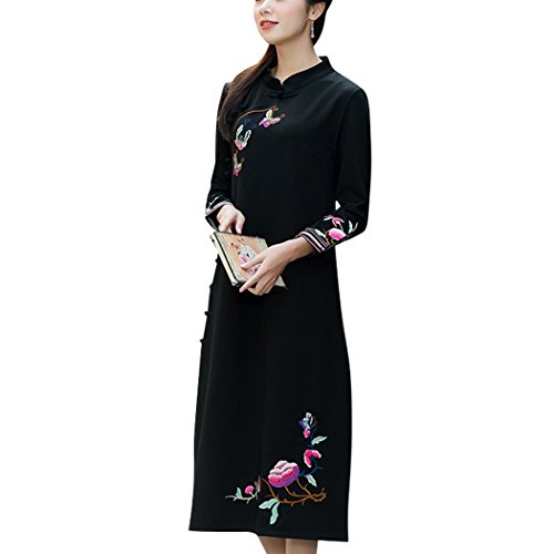 VENIMASEE 2018 Frauen Vintage Style Stickerei Langarm Mandarin Kragen Qipao Cheongsam Kleid