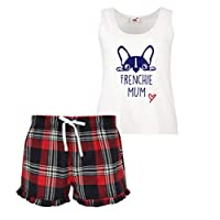 60 Second Makeover Limited Frenchie Mum Ladies Tartan Frill Short Pyjama Set or French Bull Dog, Red, X Small (UK 8)