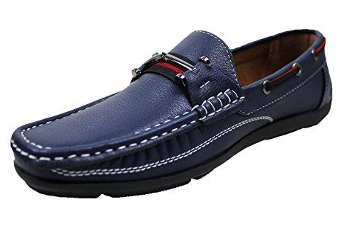 Mocassini uomo estivi casual scarpe man's shoes ecopelle da 40 a 45 (44, blu)