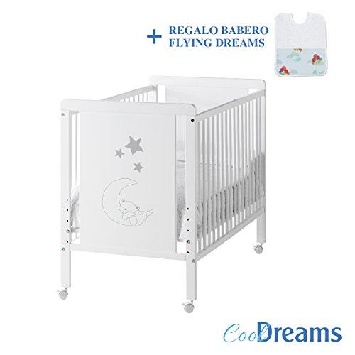 Cuna colecho de bebé Indi (5 posiciones de somier) + kit colecho + 4 ruedas + babero de regalo