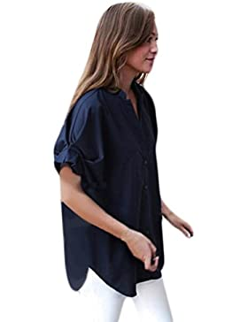 Ularma Las Mujeres Más El Tamaño De Las Blusas Casuales Sueltas Cuello Tops Camiseta De Verano