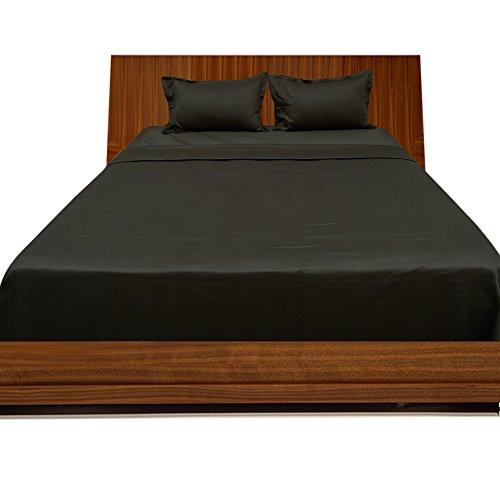 BudgetLinen 4PCs Juego de sábanas(Negro , Extragrande 150 x 200 cm(5 ft x 6ft 6in) , Pocket Size 41cm) 100 % de algodón egipcio Calidad premium 300 número de
