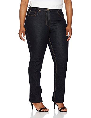 Ulla Popken Große Größen Damen Straight Jeans Regular Fit Stretch Blau (Dunkelblau 93), 48