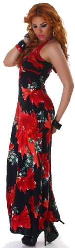 graffith Support col de femmes Maxi robe Extra Long avec motif coloré Taille (6–10) Red - Red