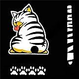 Szseven Pack D'autocollants - Chat De Bande Dessinée Créative Amusante Stickers Pack Se Déplaçant Queue Queue Patte Voiture Autocollant Voiture Arrière Pare-Brise Essuie-Glace Décalque