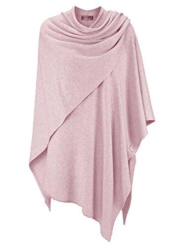 Cashmere Dreams Poncho-Schal mit Kaschmir - Hochwertiges Cape für Damen - XXL Umhängetuch und Tunika mit Ärmel - Strick-Pullover - Sweatshirt - Stola für Sommer und Winter Zwillingsherz - rosa