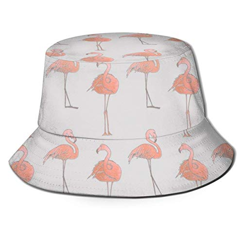 Rundafuwu Angeln Hüte Bucket Hat Packable Flamingo Pattern Print Sun Hat Fisherman Hat Cap Outdoor Camping Fishing Safari for Men Women Black