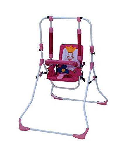 Clamaro 2 in 1 Babyschaukel \'SWING\' Indoor Baby Schaukel und Hochstuhl in einem, Sicherheitsgurt mit Bügel, gepolsterter Sitz, kompakt zusammenklappbar - Motiv: Prinzessin