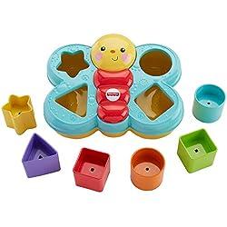 Fisher-Price Trieur De Forme Papillon jouet bébé avec 6 blocs de 4 formes différentes pour apprendre à trier et à empiler, 6 mois et plus, CDC22