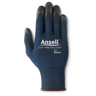 Ansell Edmont 97-505-9 Cut Resistant Glove with Nitrile Palm Coating (Carded), Kevlar/Stainless/Fiber Blend, Size 9, Blue by Ansell