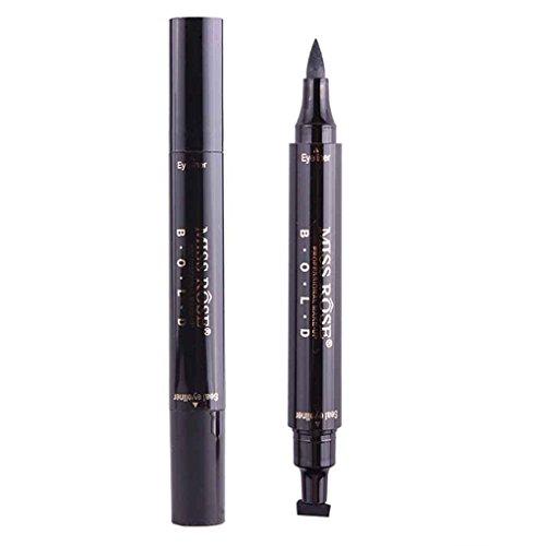 Mengonee Crayon contour des yeux liquide noir imperméable à l'eau Crayon avec cachet Stamp Double Head ailé Eyeliner