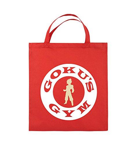 Buste Comiche - Son Gokus Gym - Borsa In Juta - Manico Corto - 38x42cm - Colore: Nero / Bianco-neon Verde Rosso / Bianco-beige