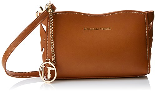 Trussardi Jeans Dahlia Smooth Ecoleather/printed Canvas Mini Bag, Sacs bandoulière femme, Marron (Leather), 25x17x6.5 cm (W x H L)