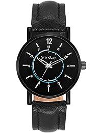 Grandlay mg-3085 black dial with black strap stylish watch for menz
