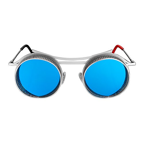 Futuristic-Style Sunglasses, Carl Zeiss Lenses | Men and Women | Made in Italy - ONIX - (Matte Silver Frame/Sky Blue Lenses)